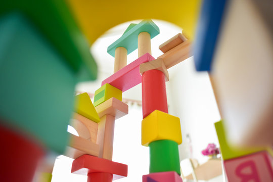 building wooden block toy geometric for kid learning development