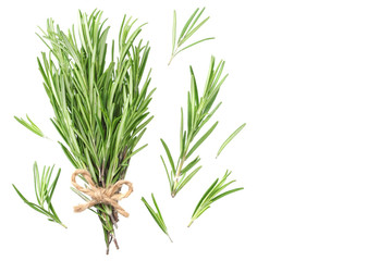 rosemary leaves isolated on white background. rosemary bunch. top view