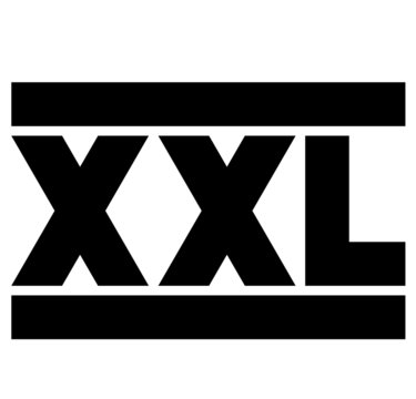 XXL. Size clothing labels. Vector.