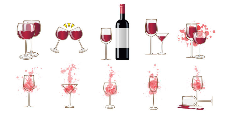 Wine glass vector set collection graphic clipart design