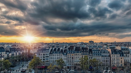 Fototapete - Paris city at sunset view from high up
