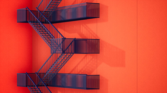 modern red building with fire escape stairs, 3d rendering