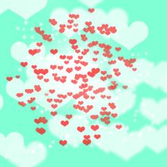 Spoed Foto op Canvas Lieveheersbeestjes red blurry heart shape on green aqua background , valentine, wedding , love concept