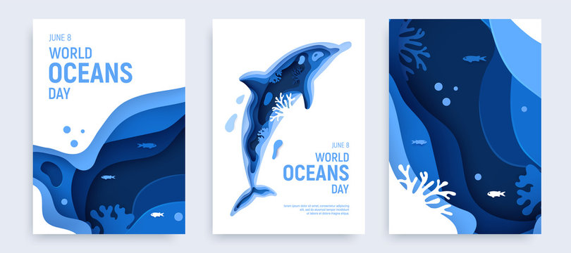 Paper art world ocean day banner set with dolphin silhouette. Underwater world page layout. Paper cut sea background with dolphin, waves and coral reefs. Craft vector illustration.