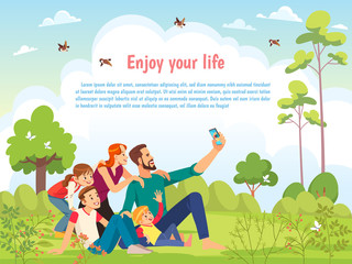 Happy family in the park taking selfie on a sunny day. Poster, card family day. Concept of friendly family and Parenthood child-rearing taking selfie walking with kids in nature. Vector cartoon