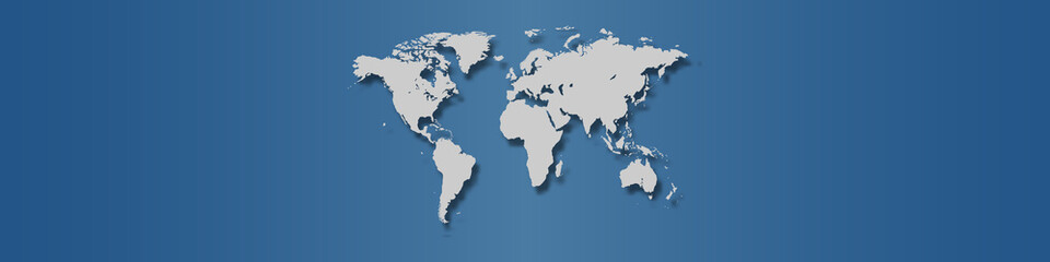 World map on classic blue background.