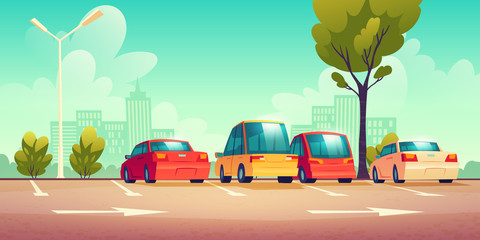 Cars on city street parking with road marking. Vector cartoon illustration with modern automobiles parked in town and cityscape on background. Urban landscape with vehicles and buildings