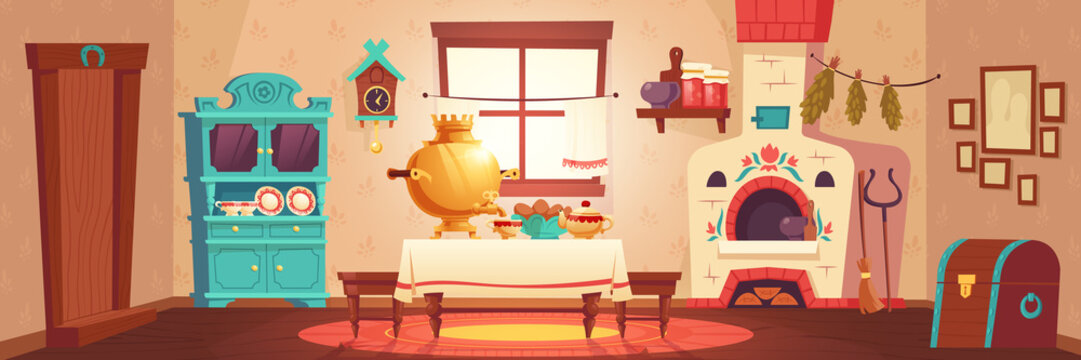Interior of old russian kitchen, ukrainian ancient rural house with oven, samovar and chest. Vector cartoon illustration of empty wooden room with traditional russian furniture and stove