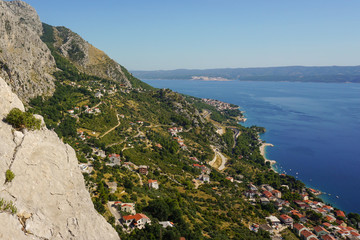 View of the Adriatic Sea from the walls of the medieval pirate fortress Stari Grad in Omis, Croatia