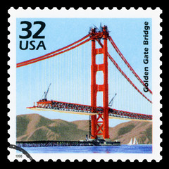 UNITED STATES OF AMERICA - CIRCA 1999: a postage stamp printed in USA showing an image of Golden Gate Bridge, circa 1999.