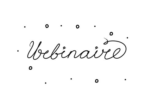 Webinaire phrase handwritten with a calligraphy brush. Webinar in French. Modern brush calligraphy. Isolated word black