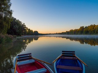Two boats on the Green Lakes State Park in Fayetteville USA