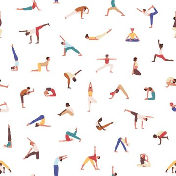 People exercising yoga vector seamless pattern