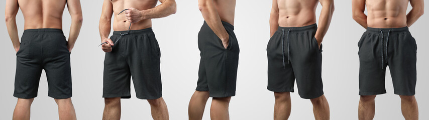 Template of blank black shorts on a guy on an isolated background, set with front, side and back views.
