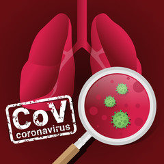 CoV corona virus concept with magnifier virus in lung human vector design