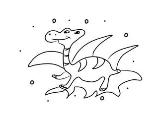 Dinosaur hand drawing coloring book. Modern doodle contour illustration black