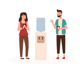 Office workers chatting near water cooler flat vector illustration. Colleagues conversation. Work break, communication. Employees talking and drinking water cartoon characters isolated on white.