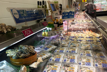 Eco-certified oysters are displayed at a store of supermarket chain Aeon in Tokyo