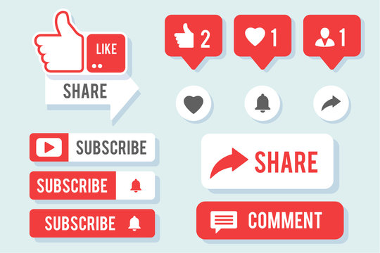 Like, Share, Comment and Subscribe social media icon big collection. Set of vector elements, eps10