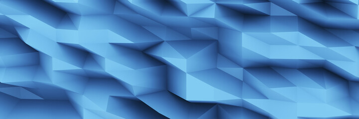 Blue Chaotic Cubes Wall Background. Panorama high resolution wallpaper. 3d Render Illustration