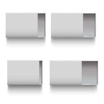 Realistic Detailed 3d White Blank Cardboard Sliding Drawer Box Template Mockup Set. Vector