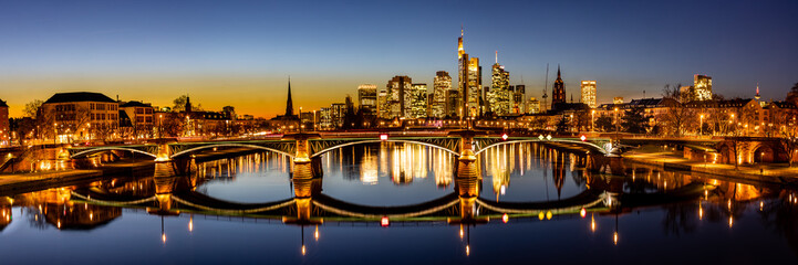 twilight panorama of the frankfurt skyline