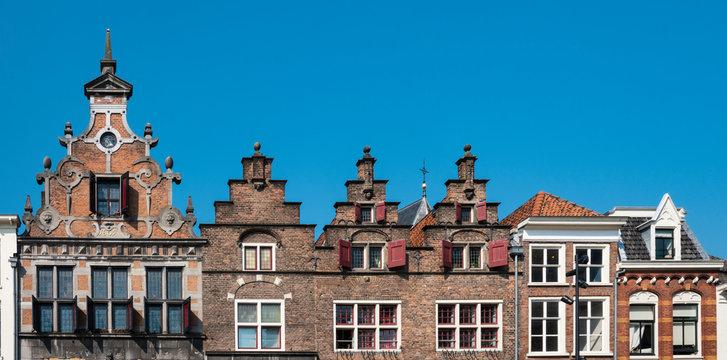 stepped gable houses and Kerkboog Gate on square Grote Markt in  Nijmegen, The Netherland