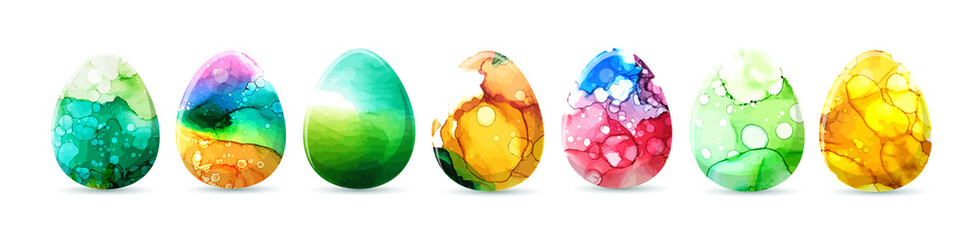 Watercolor egg. Happy Easter. Mixed media. Vector illustration