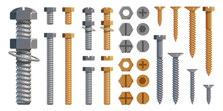 Vector set of Bolts, Nuts. Metal Screws, steel bolts, nuts, nails and rivets, self-tapping. Construction steel screw and nut, rivet and bolt metal illustration. Washer nut. Steel construction elements
