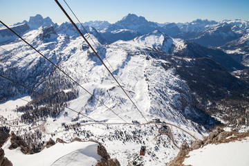 Dolomites, Italy - view from mountain Lagazuoi, nearby Cortina d'Ampezzo in the Veneto Region. Mountain skiing and snowboarding.