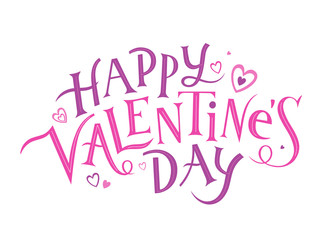 Wall Mural - HAPPY VALENTINE'S DAY ornate vector hand lettering banner with hearts