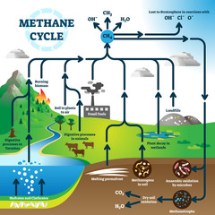 Methane cycle diagram, global pollution process vector illustration scheme