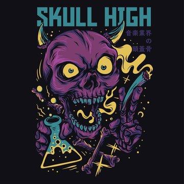 Skull High Cartoon Funny Illustration