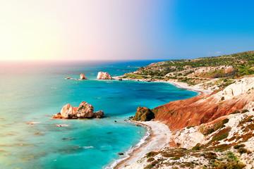 In de dag Cyprus Seashore and pebble beach with wild coastline in Cyprus island, Greece by Petra tou Romiou landmark