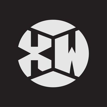 XW Logo monogram with piece circle ribbon style on black background