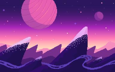 Mountains area on alien planet.