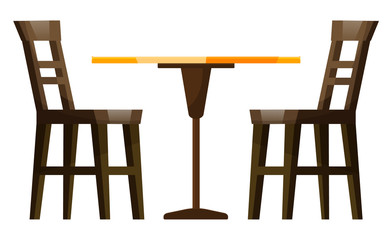 Coffeehouse wooden furniture couple of chairs and empty table on white. Nobody dinner and seat element of restaurant interior. Creative idea for appointment equipments for urban lunch vector