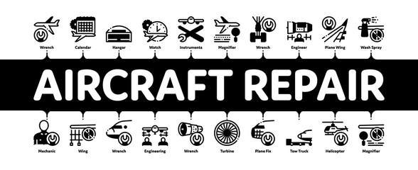 Aircraft Repair Tool Minimal Infographic Web Banner Vector. Aircraft Engine And Chassis, Helicopter And Airplane, Master And Hangar Concept Illustrations Fototapete
