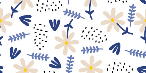 Hand drawn floral seamless pattern. Scandinavian ink doodle on white background. Childish drawing style botanical elements for fashion textile print.