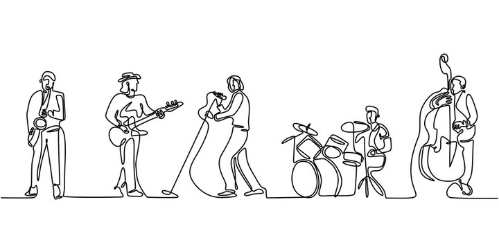 Group band music performance. Continuous one line drawing. Single hand drawn sketch minimalism. People with classical music instruments. Jazz and soul with singer.