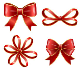 Set of red bows made from ribbons isolated on white background. Sample of knots for decoration gift boxes for holiday. Wrapping packages for party celebration. Vector gift bow illustration