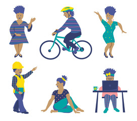Busy woman performing her regular life activities - cycling, dancing, working, yoga, screen time, greeting