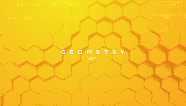 Abstract yellow geometric background. Vector minimal illustration. Bright gradient hex shapes textured with halftone pattern. Creative cover design. Architectural poster concept
