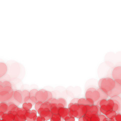 Valentines Day Frame Border Design with Blurred Heart Stickers Scattered