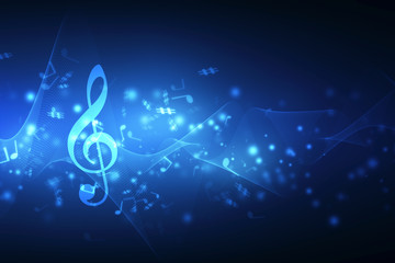 Abstract Colorful music background with notes, Music Party Background