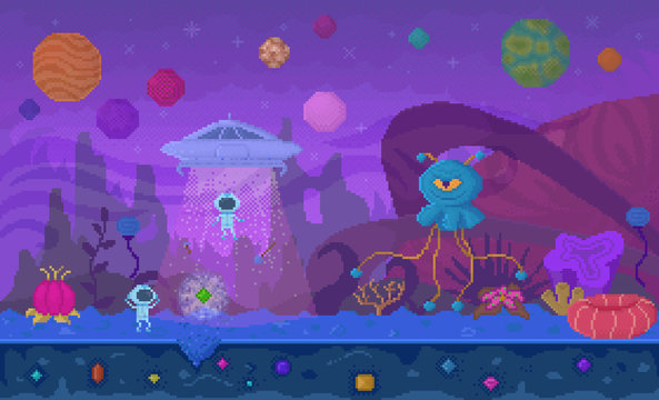 Pixelated game with aliens and space. Arcade with characters exploring cosmos and planets. People in costumes fighting monsters. Spaceship of personages and futuristic location video-game vector pixel