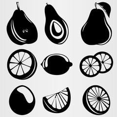 A set of stylistic images of pear, avocado, orange and lemon.
