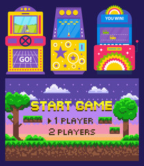 Vintage arcades, colorful retro game machines with car racing and rocket launching. Cartoon pixel art nature scene. Start game on screen, vector illustration. Pixelated video-game. Old school games