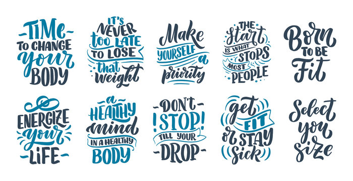 Abstract lettering set about sport and fitness for poster or print design. Healthy lifestyle. Modern calligraphy for business success concept. Handwritten letters. Typography funny quotes. Vector