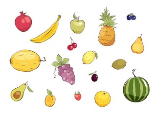 Collection pictures -- fruits and berries / Set graphic vector illustrations with different fruits